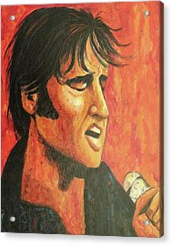 Elvis In Black And Red Acrylic Print by Suzanne  Marie Leclair
