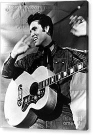 Elvis Presley With His Gibson Guitar Acrylic Print by Pd