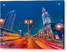 Acrylic Print featuring the photograph Embarcadero Lights by Steve Siri