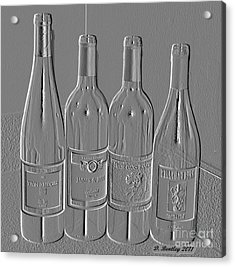 Embossed Wine Bottles Acrylic Print by Donna Bentley