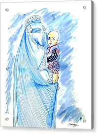 Embroidered Blue Lady-cage -- Woman In Burka Acrylic Print