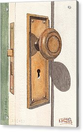 Emily's Door Knob Acrylic Print by Ken Powers
