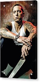 Acrylic Print featuring the painting Eminem Artwork 1   by Sheraz A