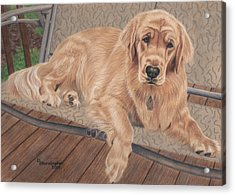 Emma On The Glider Acrylic Print by Debbie Stonebraker