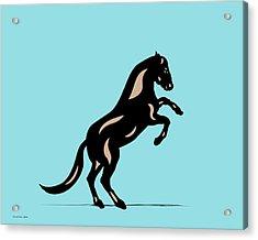 Emma II - Pop Art Horse - Black, Hazelnut, Island Paradise Blue Acrylic Print