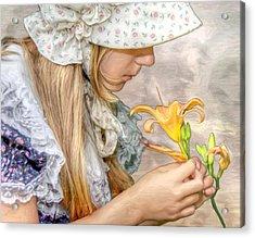 Emma With Flower Portrait Acrylic Print by Randy Steele