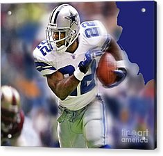 Emmit Smith, Number 22, Running Back, Dallas Cowboys. Acrylic Print by Thomas Pollart