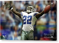 Emmitt Smith, Number 22, Running Back, Dallas Cowboys Acrylic Print by Thomas Pollart