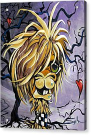 Acrylic Print featuring the painting Emo Alpaca by Patty Sjolin