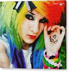 Emo Rainbow Girl - Da Acrylic Print by Leonardo Digenio