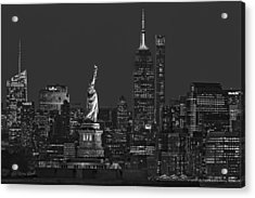 Acrylic Print featuring the photograph Empire State And Statue Of Liberty II Bw by Susan Candelario