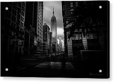 Acrylic Print featuring the photograph Empire State Building Bw by Marvin Spates