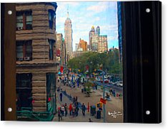 Acrylic Print featuring the photograph Empire State Building - Crackled View 2 by Madeline Ellis