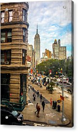 Acrylic Print featuring the photograph Empire State Building - Crackled View 3 by Madeline Ellis