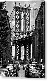 Empire State Building Framed By Manhattan Bridge Acrylic Print