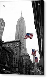 Empire State Building In The Mist Acrylic Print by John Farnan