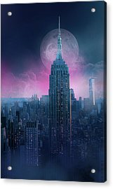 Empire State Building Moonlight Acrylic Print