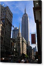 Empire State Building-new York City-manhattan Skyline Acrylic Print by Candace Garcia