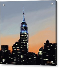Empire State Building Ombre New York Skyline Acrylic Print by Beverly Brown