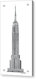 Limited Edition Empire State Building With Flag - Black And White Acrylic Print