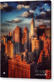 Empire State In Gold Acrylic Print