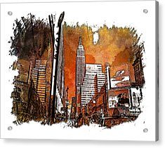 Empire State Reflections Earthy Rainbow 3 Dimensional Acrylic Print by Di Designs