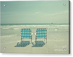 Empty Beach Chairs Acrylic Print by Edward Fielding