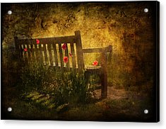Empty Bench And Poppies Acrylic Print by Svetlana Sewell