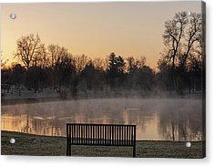 Empty Bench At Misty City Park Lake Acrylic Print