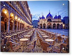 Empty Cafe On Piazza San Marco - Venice Acrylic Print