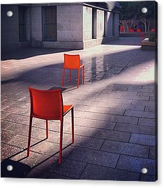 Empty Chairs At Mint Plaza Acrylic Print
