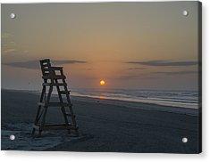 Empty Lifeguard Chair At Sunrise Acrylic Print