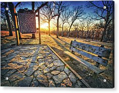 Empty Park Bench - Sunset At Lapham Peak Acrylic Print by Jennifer Rondinelli Reilly - Fine Art Photography