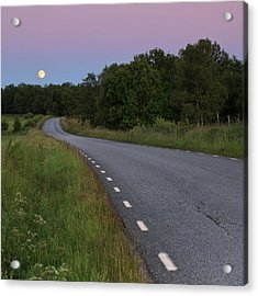 Empty Road In Countryside Landscape Acrylic Print by Jens Ceder Photography