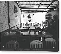 Empty Seat In Open Local Restaurant Black And White Color Acrylic Print by Siri