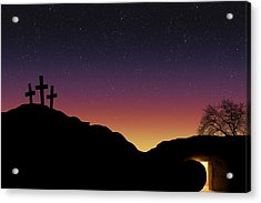 Empty Tomb And Three Crosses Acrylic Print by Colette Scharf