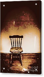 Empty Wooden Chair With Cross Sign Acrylic Print