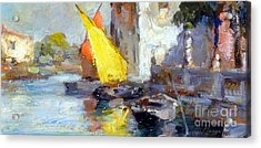 Acrylic Print featuring the painting En Plein Air In Venice by Rosario Piazza