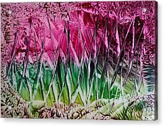 Encaustic Abstract Pinks Greens Acrylic Print