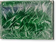 Encaustic Green Foliage With Some Blue Acrylic Print