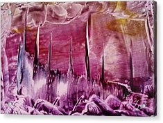 Encaustic Purple-pink Abstract Castles Acrylic Print