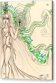 Enchanted By An Emerald Flame Sketch Acrylic Print by Coriander Shea