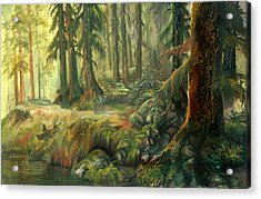 Acrylic Print featuring the painting Enchanted Rain Forest by Sherry Shipley