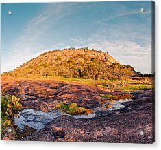 Enchanted Rock Bathed In Golden Hour Sunset Light - Fredericksburg Texas Hill Country Acrylic Print
