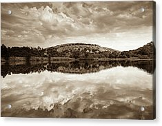 Enchanted Rock On A Cloudy Day -sepia - Texas Acrylic Print by Ellie Teramoto