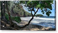 Enchanted Rocks Koki Beach Haneoo Hana Maui Hawaii Acrylic Print by Sharon Mau