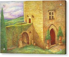 Acrylic Print featuring the painting Enchanting Fairytale Chateau Landscape by Judith Cheng