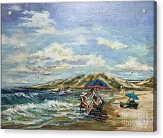 Acrylic Print featuring the painting End Of Beach Day  by Gail Allen