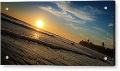Acrylic Print featuring the photograph End Of Summer Sunset Surf by T Brian Jones