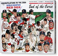 End Of The Curse Red Sox Newspaper Poster Acrylic Print
